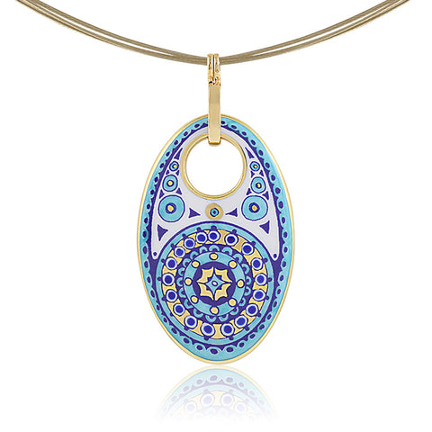 GOLD OF DESERT gold plated blue oval fine porcelain pendant