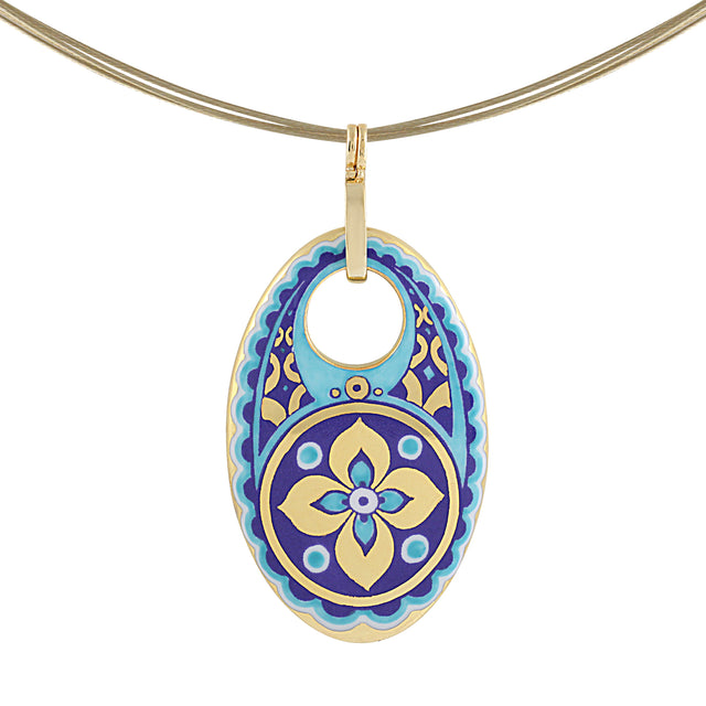 GOLD OF DESERT gold plated flowery blue oval fine porcelain pendant