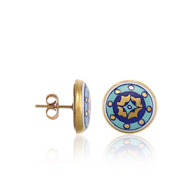 GOLD OF DESERT gold plated blue fine porcelain spot earring set