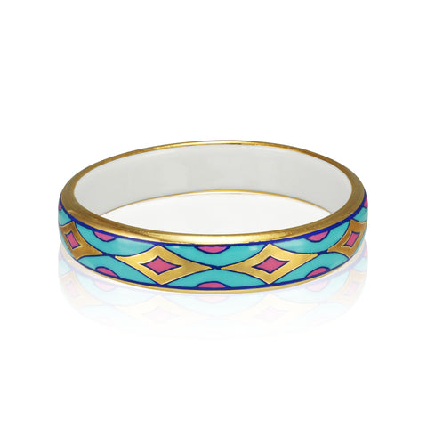 GOLD OF DESERT gold plated blue/pink slim fine porcelain bracelet