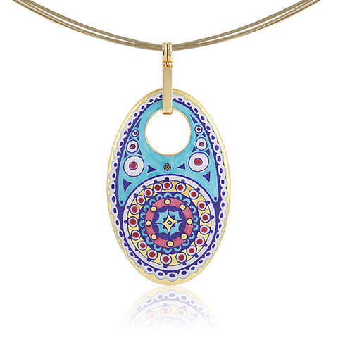 GOLD OF DESERT gold plated pink oval fine porcelain pendant