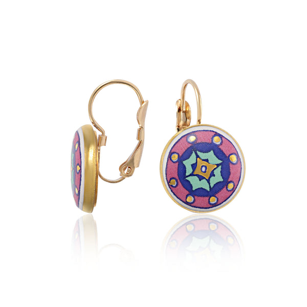 GOLD OF DESERT gold plated pink fine porcelain dangle earring set