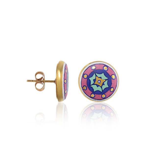 GOLD OF DESERT gold plated pink fine porcelain spot earring set