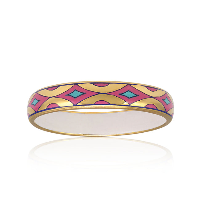 GOLD OF DESERT gold plated pink slim fine porcelain bracelet