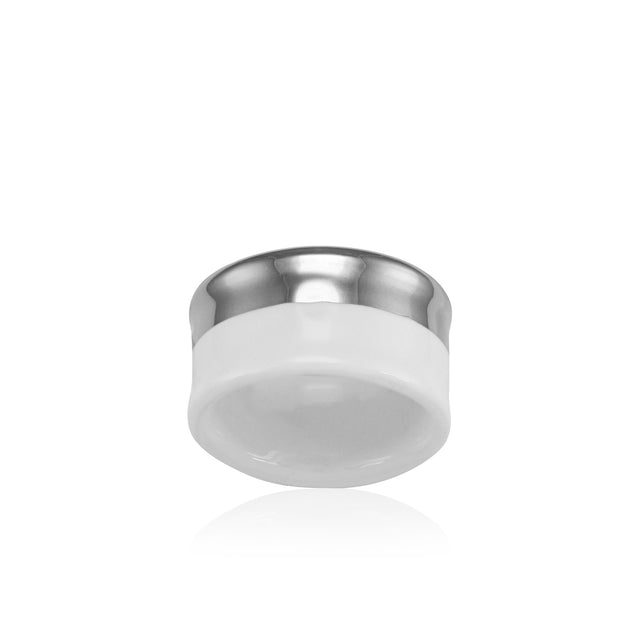 MINIMAL platinum plated white fine porcelain ring with silver