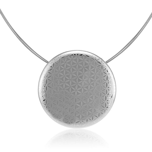 minimal 23 k platinum plated large round hand painted fine porcelain pendant 52 mm