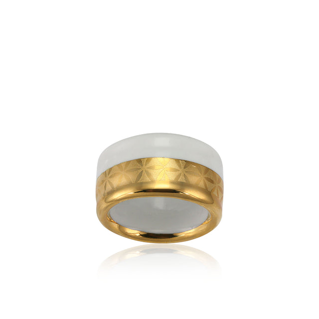 MINIMAL gold plated white fine porcelain ring with silver
