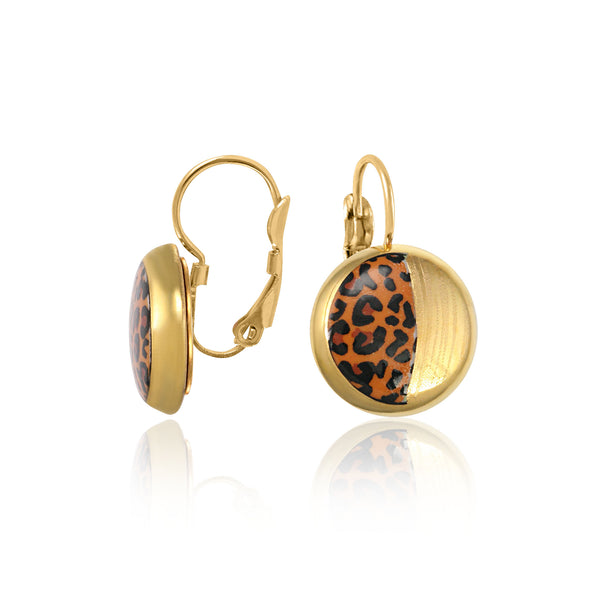 LEOPARD gold plated fine porcelain dangle earring set