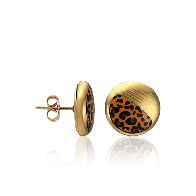 LEOPARD gold plated fine porcelain spot earring set