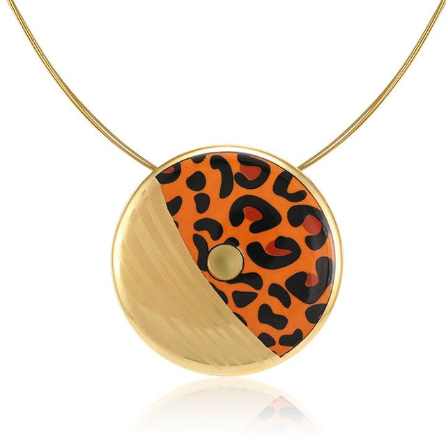 leopard patterned 21 k gold plated large hand painted fine porcelain pendant 52 mm