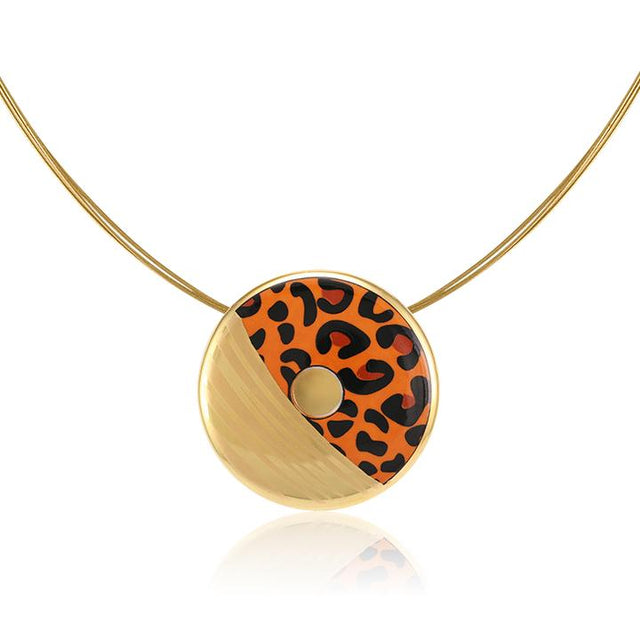 leopard patterned 21 k gold plated small hand painted fine porcelain pendant 38 mm