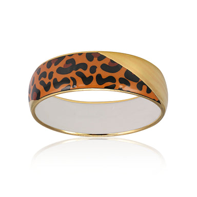 LEOPARD gold plated medium fine porcelain bracelet