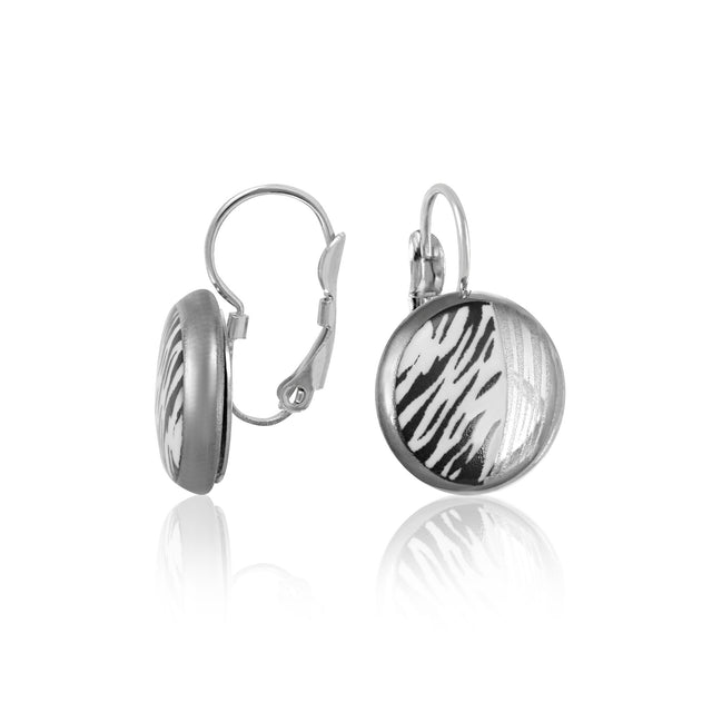 ZEBRA platinum plated fine porcelain dangle earring set