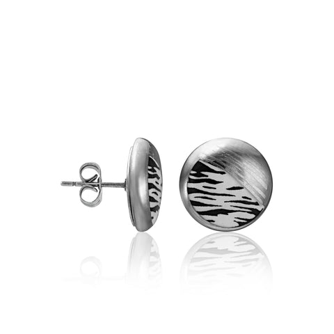 ZEBRA platinum plated fine porcelain spot earring set