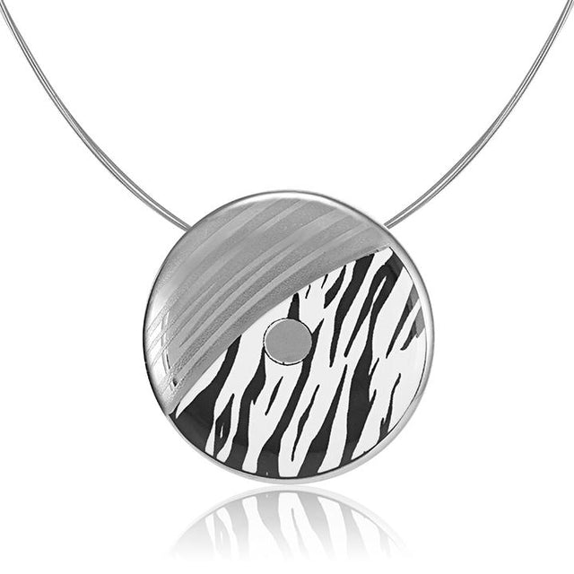 zebra patterned 23 k platinum plated large hand painted fine porcelain pendant 52 mm