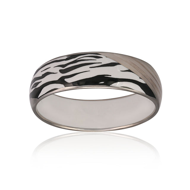 ZEBRA platinum plated medium fine porcelain bracelet