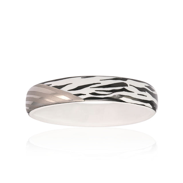 ZEBRA platinum plated narrow fine porcelain bracelet