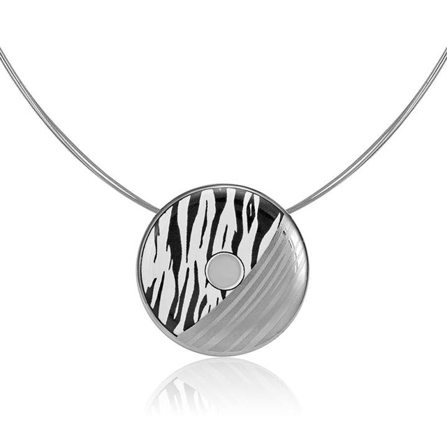 zebra patterned 23 k platinum plated small hand painted fine porcelain pendant 38 mm