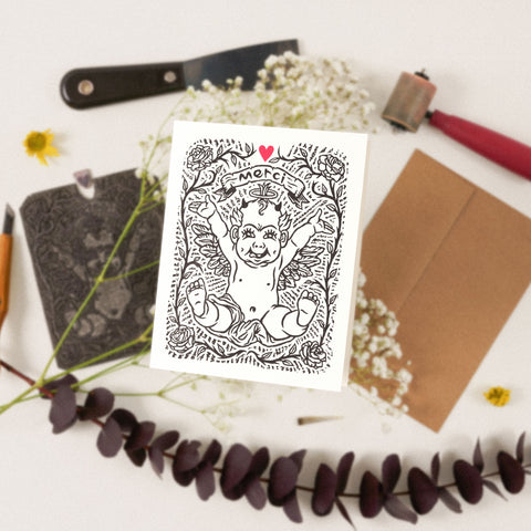 'Merci' Linocut Greeting Card