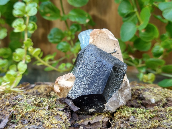 Aquamarine with Black Tourmaline and feldspar