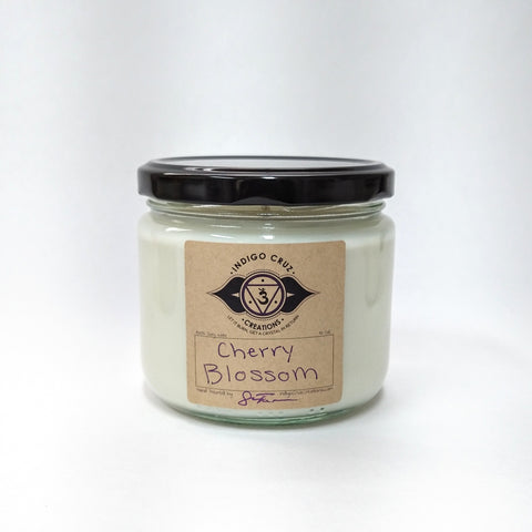 Limited Edition Cherry Blossom 10 oz Soy Wax Candle with a surprise crystal at the bottom