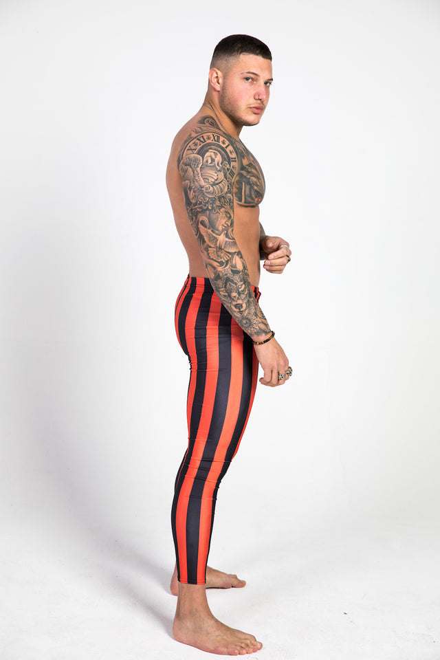 right side red striped leggings