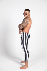 left side black and white striped leggings