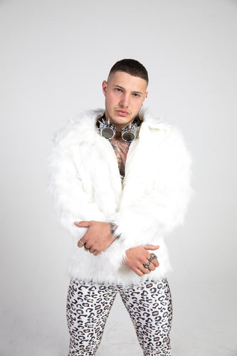 White Faux Fur Doof Jacket