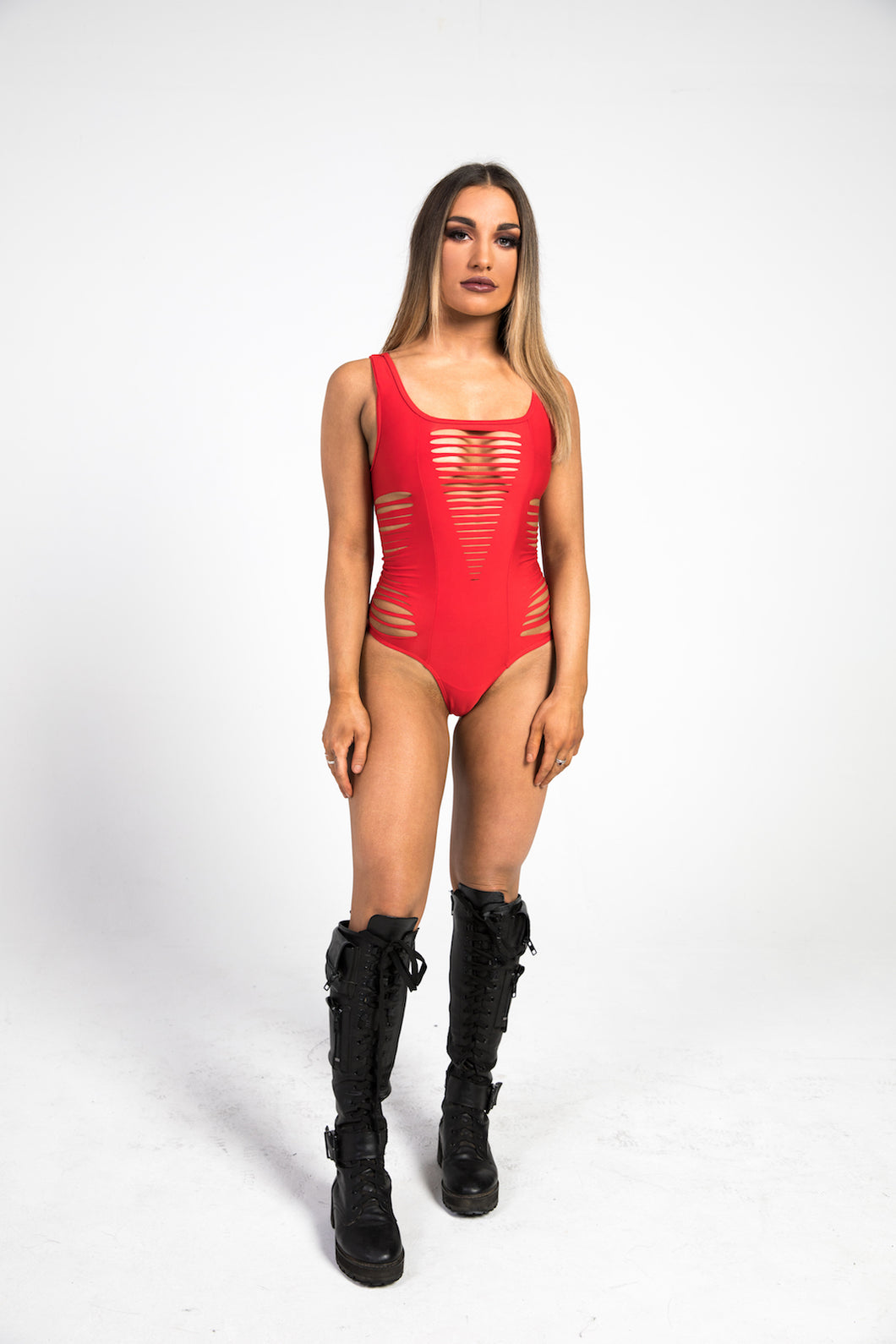 woman wearing red bodysuit