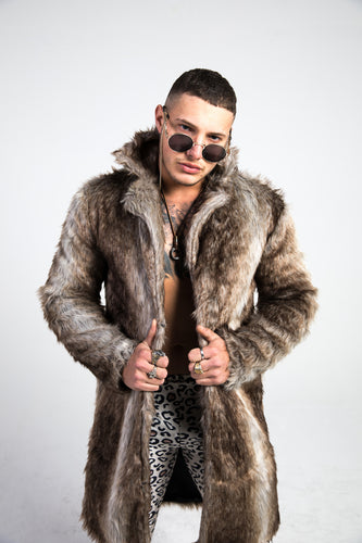 man wearing brown faux fur jacket