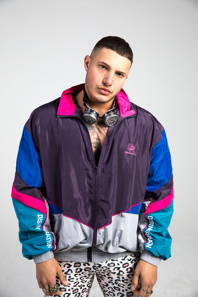 Color Block Spray Vintage Windbreaker