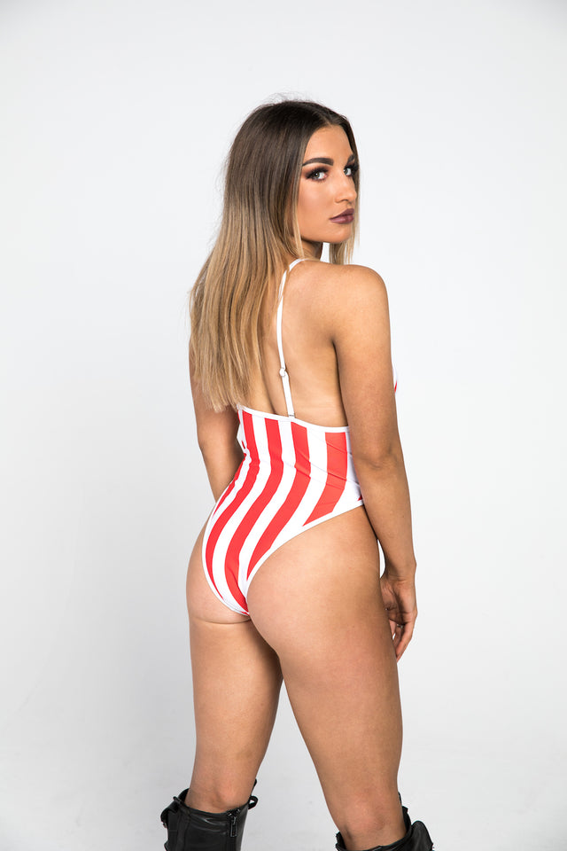 back red striped bodysuit