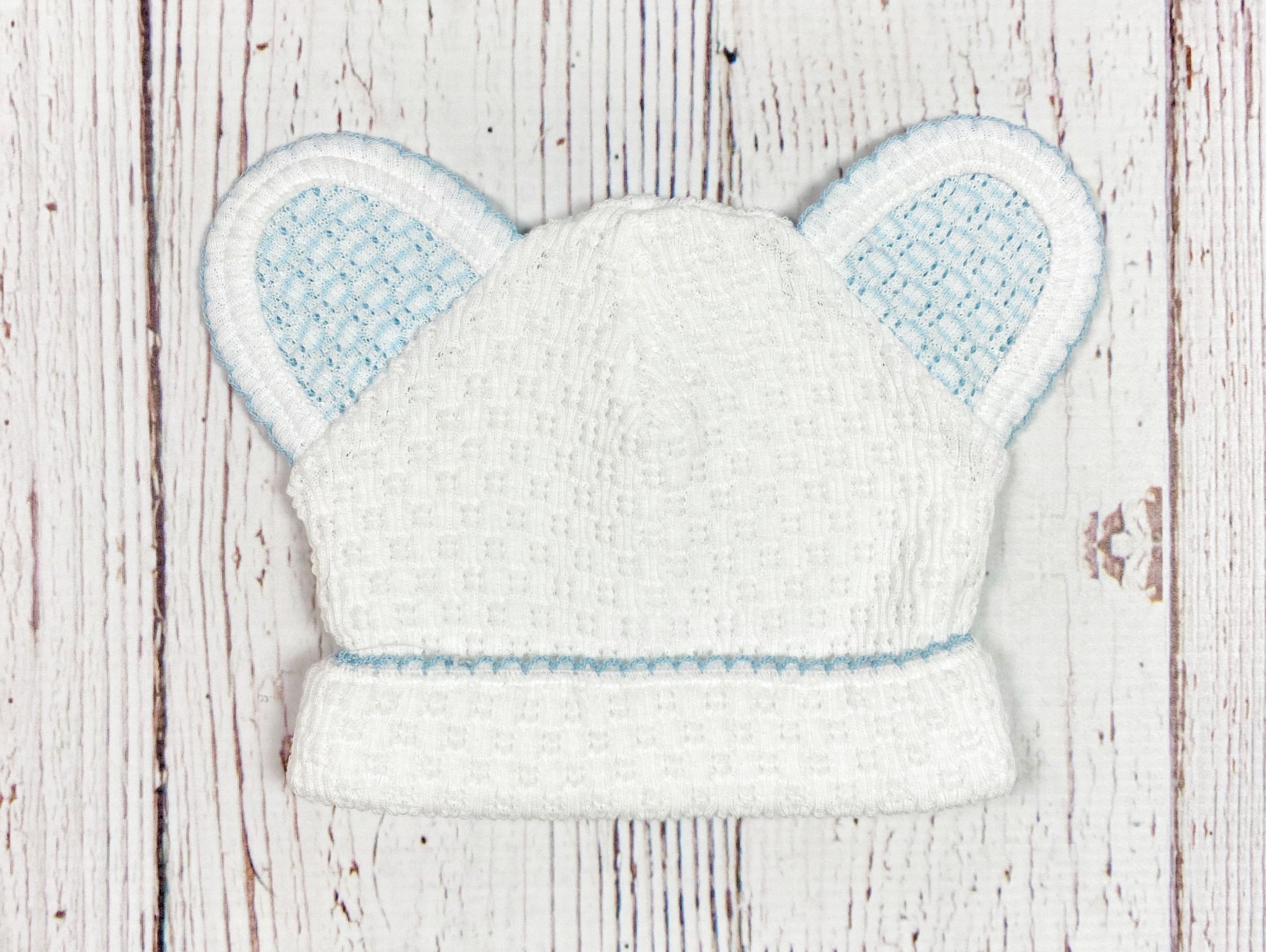 White With Blue Trim Bear Hat