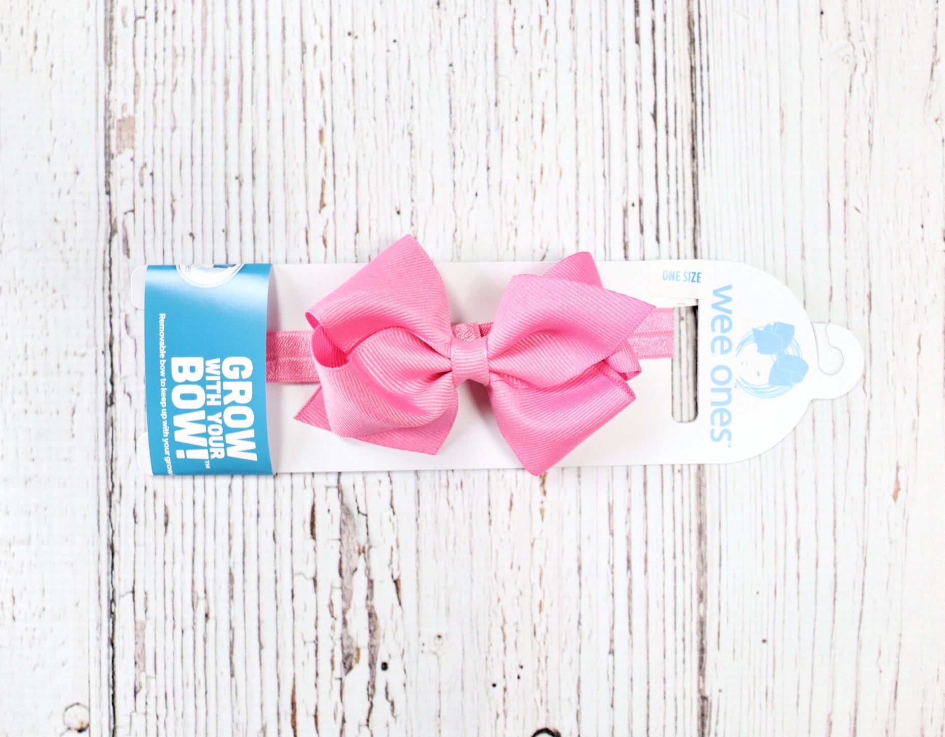 Hot Pink Grosgrain Bow With Elastic Band