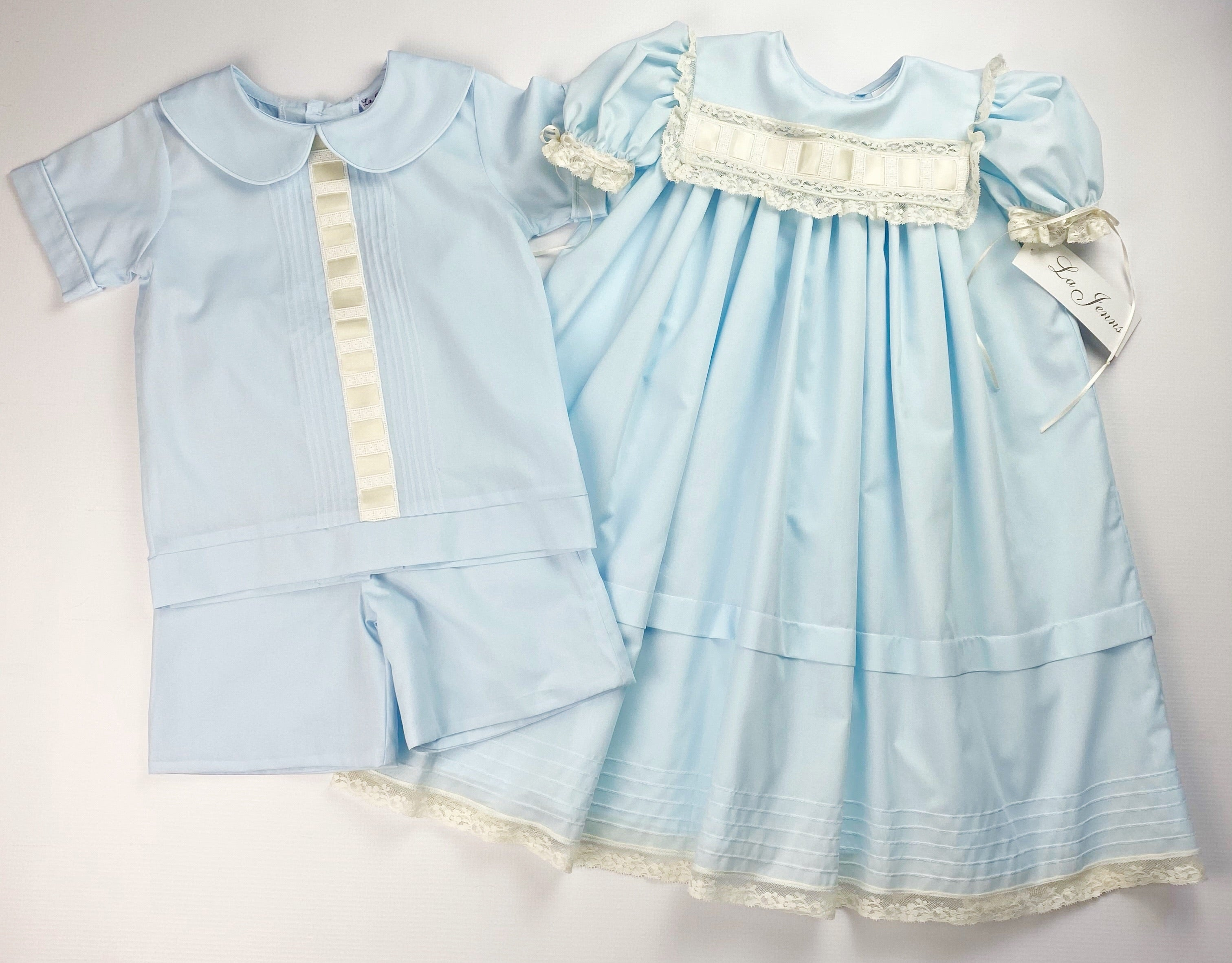 Heirloom Blue And Ivory Peter Pan Short Set (3T,4T)