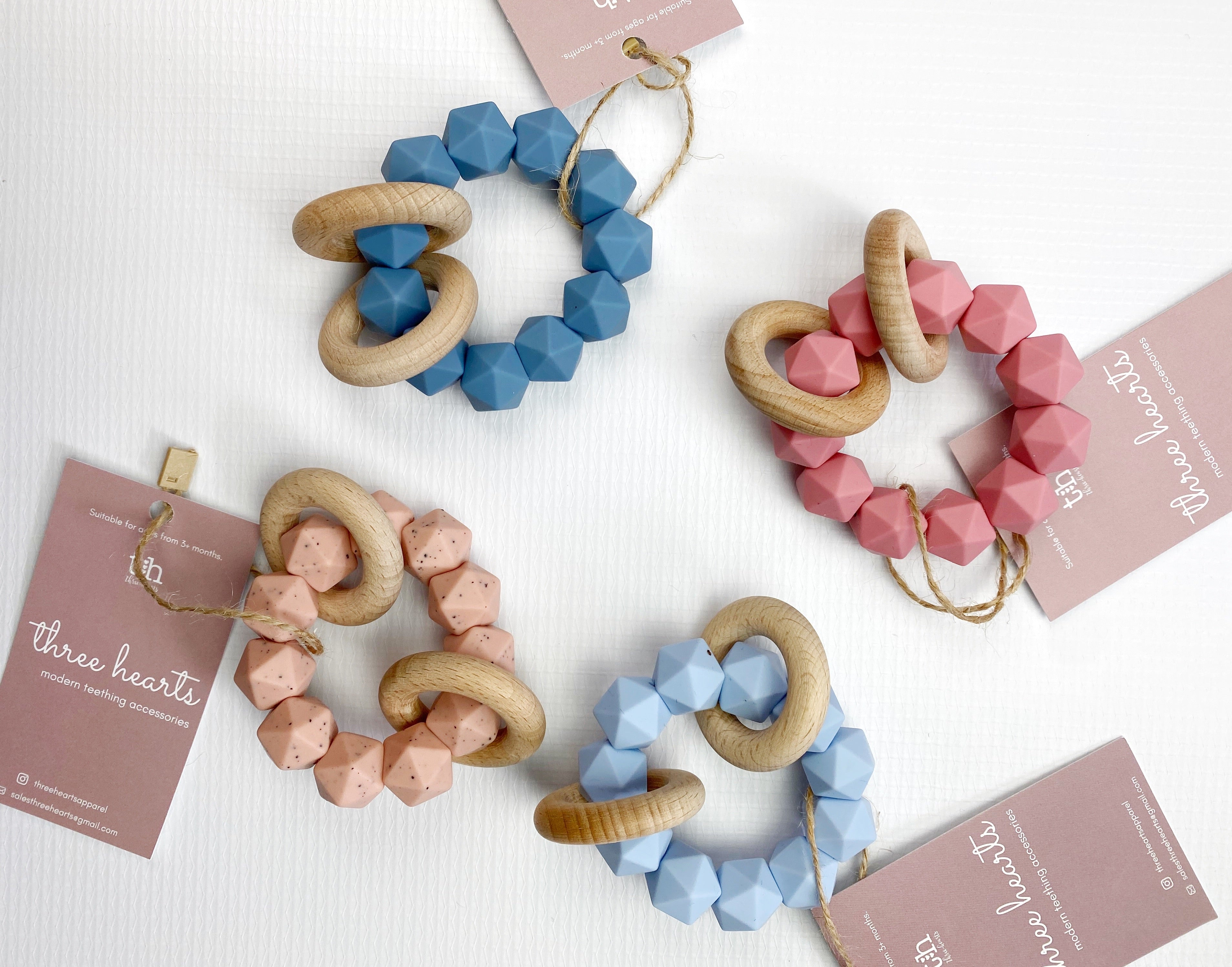 Abby Teething Rattle - Baby Blue