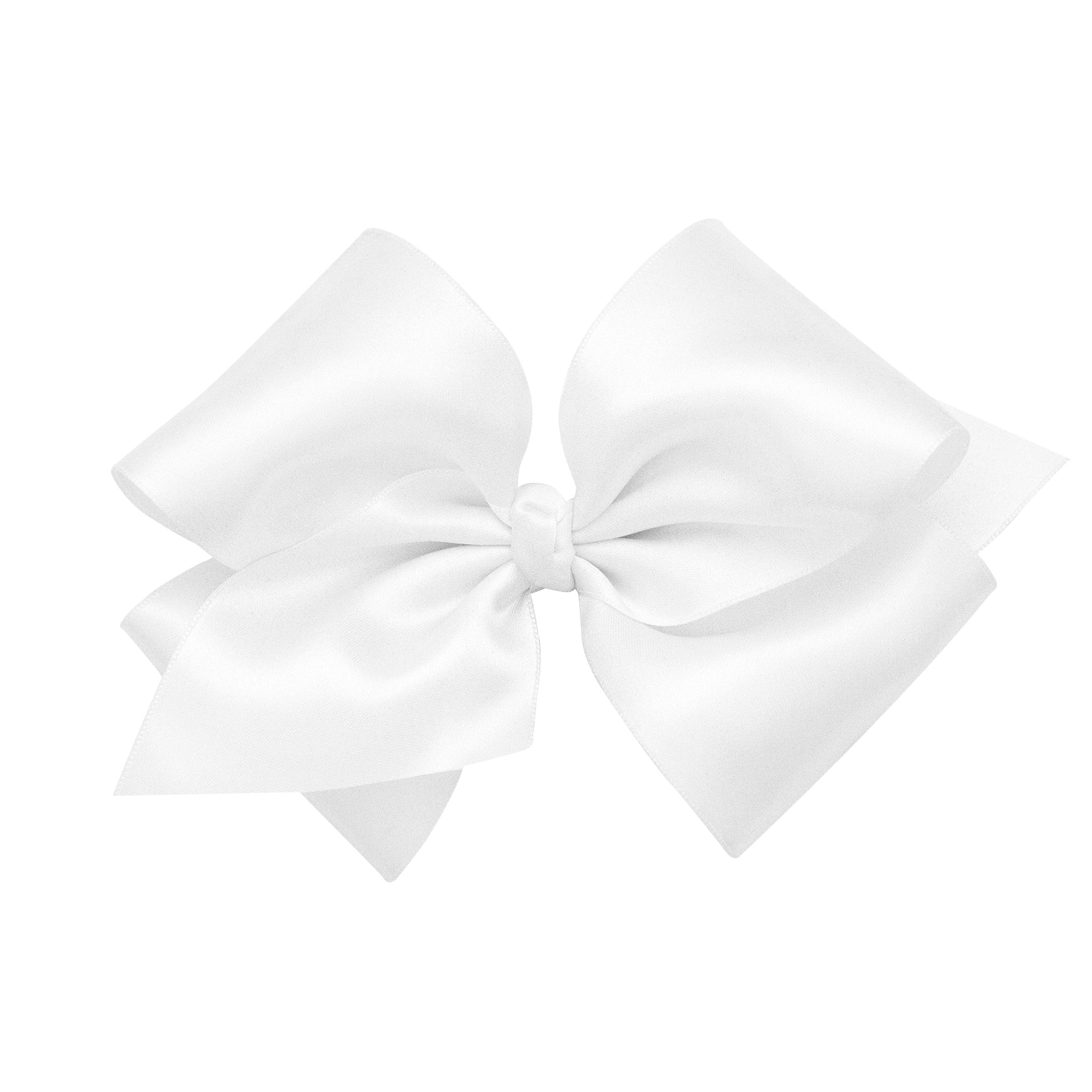 French Satin Bow With Knot - White