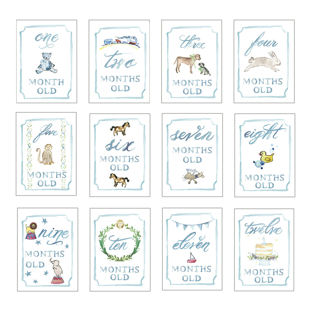 Boy Month By Month Card Set