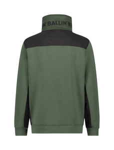 Half Zip Box Logo Sweater - Dark Army