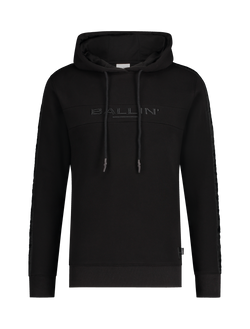 Embroidery Tape Logo Hoodie - Zwart
