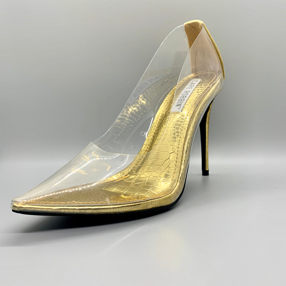Gold Transparent Pumps by Cape Robbin
