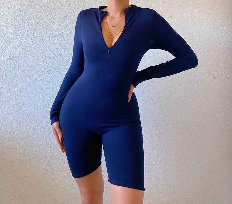 Tori long sleeve romper (navy blue)