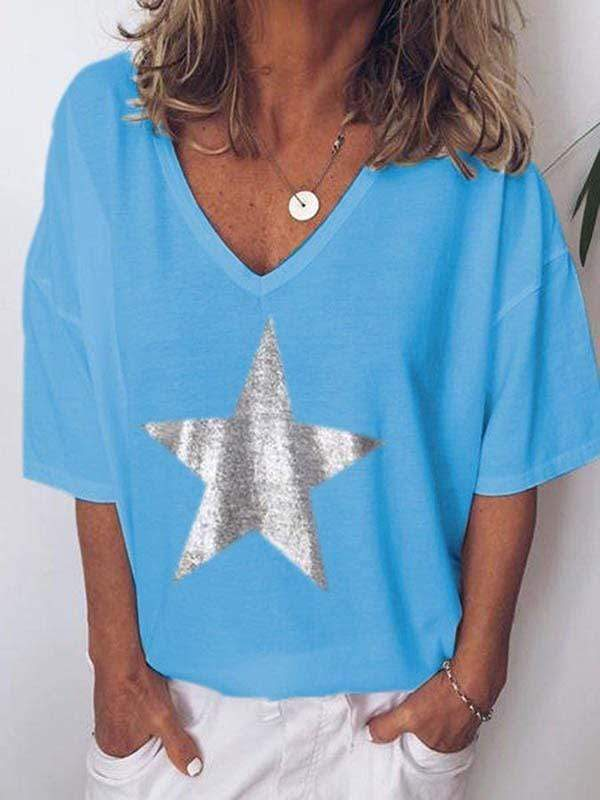 wiccous.com Plus Size Tops Blue / L Plus size star print V-neck T-shirt