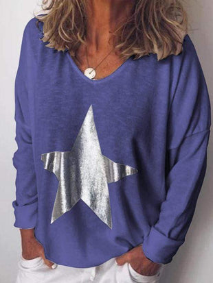 Plus Size Star Print Long Sleeve T-Shirt