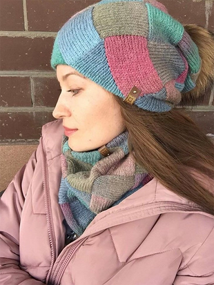Damen New Pink Blue Winter Strickmütze