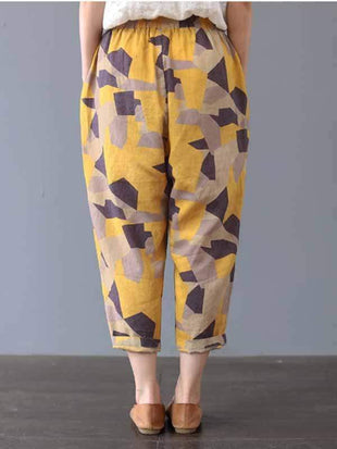 novelarrival.com Plus Size Bottoms yellow  geometry / L Plus size printed casual pants