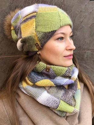 Damen New Light Yellow Winter Strickmütze