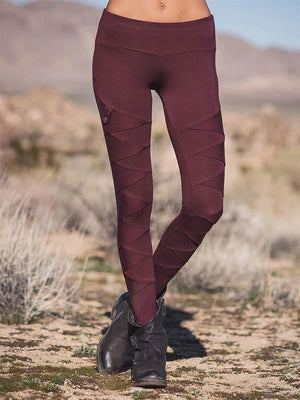 Frauen Retro Solid Color Stitching Stretch Leggings