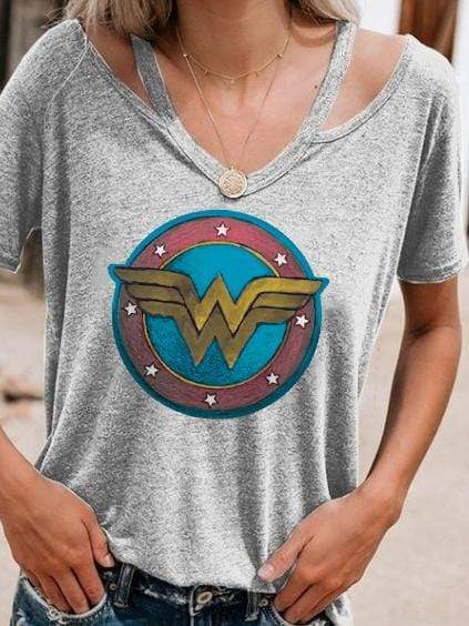 Wonder Woman LOGO Printing Hollow Out T-shirt