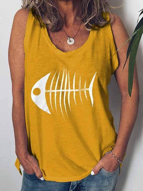 novelarrival.com Plus Size Tops Yellow / S Fish Head Print Vest